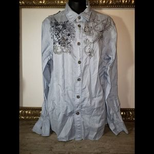 Men's Guess Western Style LS Shirt. Medium